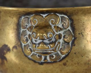 Late Ming - Early Qing Chinese Bronze Lion Mask Censer Incense Burner Xuande Mk 4