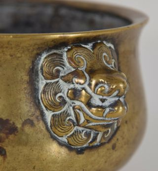 Late Ming - Early Qing Chinese Bronze Lion Mask Censer Incense Burner Xuande Mk 5