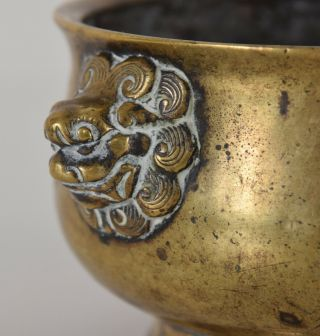 Late Ming - Early Qing Chinese Bronze Lion Mask Censer Incense Burner Xuande Mk 6