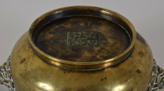 Late Ming - Early Qing Chinese Bronze Lion Mask Censer Incense Burner Xuande Mk 9
