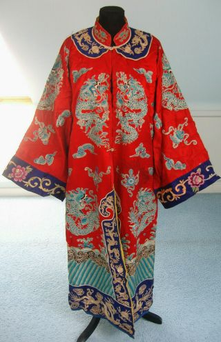 Antique / Vintage Red Silk Chinese Robe,  Embroidered Blue Dragons,  Early 20th