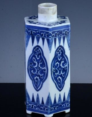 Fine 17thc Chinese Kangxi Blue White Faceted Footed Tea Caddy Jar Vase