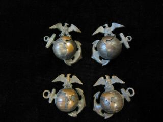 Wwi Wwii Us Marine Corps Officer Ega Collar Insignia Pins