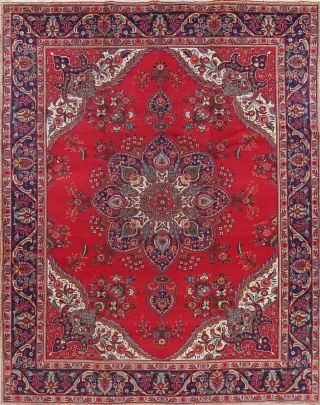 Vintage Geometric Red Persian Area Rug Oriental Large Hand - Knotted Wool 10
