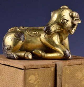 Chinese Gold Gilt Bronze Ram Figure Scroll Weight Ming Qing Dynasty