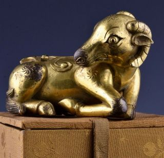 CHINESE GOLD GILT BRONZE RAM FIGURE SCROLL WEIGHT MING QING DYNASTY 2