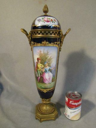"""Antique Sevres 17 """" Tall Cobalt Covered Vase / Urn With Lovers & Flowers"""