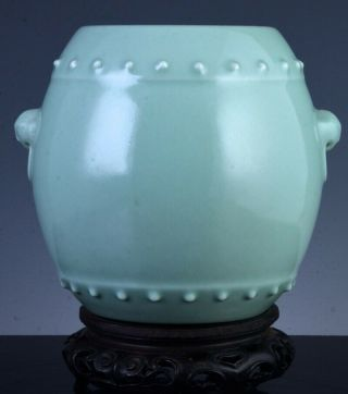 Rare Signed Chinese Qianlong Longquan Celadon Glaze Drum Form Vase Zitan Stand