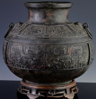LARGE EARLY CHINESE ARCHAIC BRONZE MASK HANDLE HU VASE MING DYNASTY MARKED 3