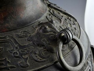 LARGE EARLY CHINESE ARCHAIC BRONZE MASK HANDLE HU VASE MING DYNASTY MARKED 7