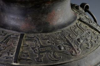 LARGE EARLY CHINESE ARCHAIC BRONZE MASK HANDLE HU VASE MING DYNASTY MARKED 8