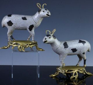 Very Rare 18thc Chinese Qianlong Cloisonne Enamel Bronze Sheep Lamb Figures