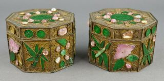 Fine Antique Pair Chinese Jade Rose Quartz And Gilt Filigree Small Box