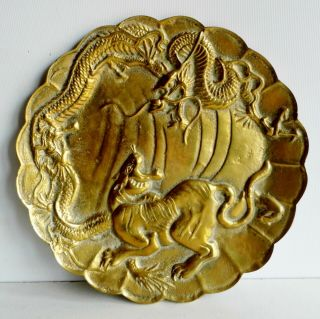 Magnificent Rare Antique Chinese Bronze Plate - Tiger & Dragon - Character Marks