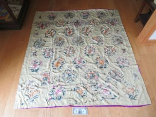 Antique Chinese Embroidered Silk Tapestry Tablecloth Immortals Butterfly (p161)