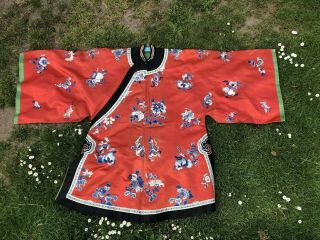 Fine Chinese Qing Dynasty Silk Coral / Red Embroidered Robe Decorated Phoenix