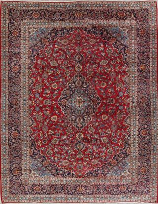 Vintage Traditional Floral Red Persian Oriental Hand - Knotted Wool Area Rug 10x13