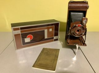 Outstanding 1a Gift Kodak Camera With Cedar Box & Rare Instruction Booklet