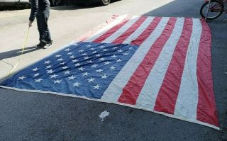 Huge American Flag From Public Building - Very Old & Rare - Info Welcome - Rare