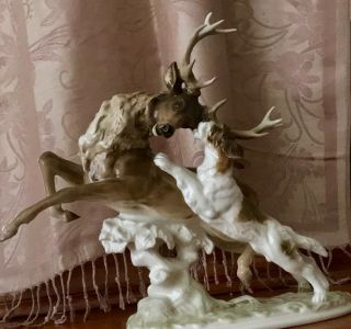 """Hutschenreuther Selb Figurine """"stag Hunt"""" 1955 - 1968.  Signed By K.  Tutter"""
