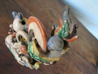 Antique Chinese Multicolored Ceramic Pottery Incense Holder Dragon & Phoenix `nr 11