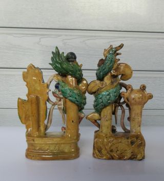 Antique Chinese Multicolored Ceramic Pottery Incense Holder Dragon & Phoenix `nr 4