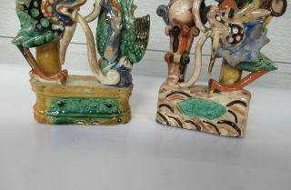 Antique Chinese Multicolored Ceramic Pottery Incense Holder Dragon & Phoenix `nr 6