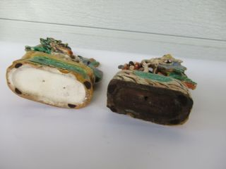 Antique Chinese Multicolored Ceramic Pottery Incense Holder Dragon & Phoenix `nr 7