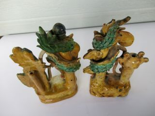 Antique Chinese Multicolored Ceramic Pottery Incense Holder Dragon & Phoenix `nr 9