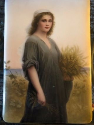 """Antique Porcelain Plaque """" Ruth With Wheat """" Kpm Style Mkd 302 Hand Painted 4x5.  75"""