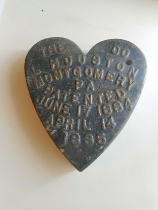 Rare Antique Heart Shaped Windmill Weight.  Houston Co.  Heart Windmill Weight