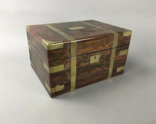19th C.  Antique English Campaign Chest Gentleman's Jewelry Box