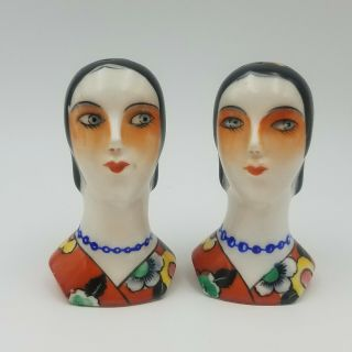 Vintage 1920s Noritake Japan Art Deco Flapper Lady Head Salt & Pepper Shakers