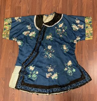 Antique Chnese Qing Dynasty Blue Silk Embroidered Royal Robe With Flowers