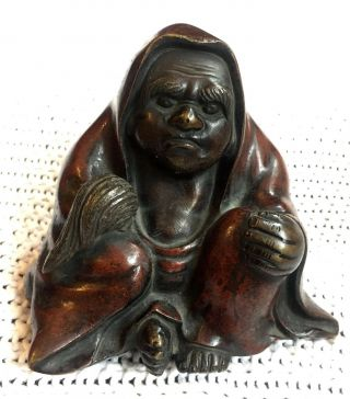 """C.  1880 Japanese Meiji Period """" Red """" Bronze Figure Of A Monk & Vgc No Res"""