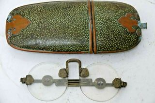 Early Chinese Spectacles In Shagreen Case Extremely Rare Chinese Glasses