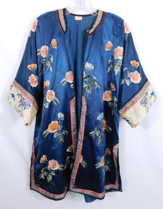 Antique Chinese Embroidered Blue Silk Robe - Floral - Bird Butterfly Cuffs