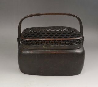 "A Very Fine Chinese Early 20c Bronze Hand Warmer "" Zhang Mingqi "" Mark - Republic"