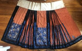 Antique Chinese 19th Century Silk Embroidered Panel Skirt