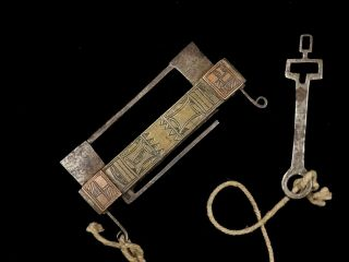 North African Padlock Lock Beautifully Brass And Copper Inlaid With Key 19th C