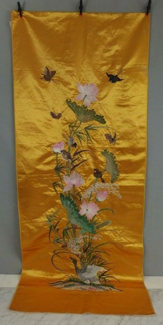 Large Antique Chinese Silk Embroidery Panel C1900 W Flowers Birds & Butterflies