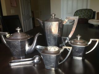 Antique Chinese Export Sterling Silver Bamboo Decorations Tea Set 1773 Grams