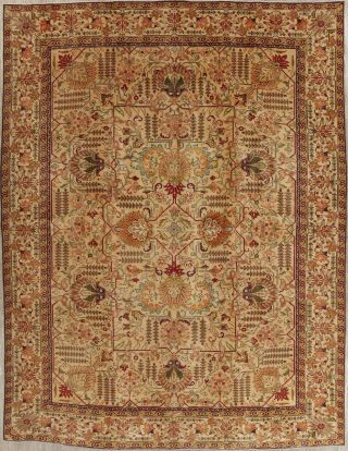 Antique Geometric Gold - Washed Color Persian Oriental Hand - Knotted Area Rug 10x13
