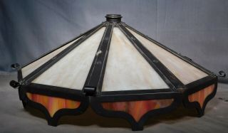 Antique Arts Crafts Mission Art Glass Panel Lamp Shade Opalescent Slag Rivets
