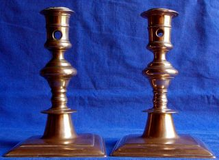 17th Century French Bronze Acorn - Knopped Socket Candlesticks Circa 1640