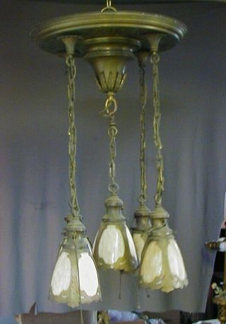 FANCY ARTS & CRAFTS / GOTHIC BRASS PAN FIXTURE w/ 5 STAINED / SLAG GLASS SHADES 5