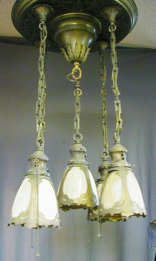 FANCY ARTS & CRAFTS / GOTHIC BRASS PAN FIXTURE w/ 5 STAINED / SLAG GLASS SHADES 6