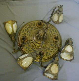 FANCY ARTS & CRAFTS / GOTHIC BRASS PAN FIXTURE w/ 5 STAINED / SLAG GLASS SHADES 9