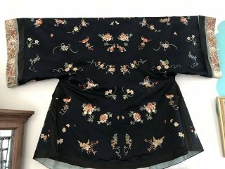 Antique Chinese Silk Robe With Embroidery