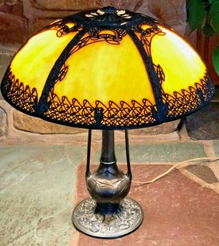 "Antique Exceptional Bent Slag Glass Panel Signed Miller Bronze Lamp 19 "" Shade"